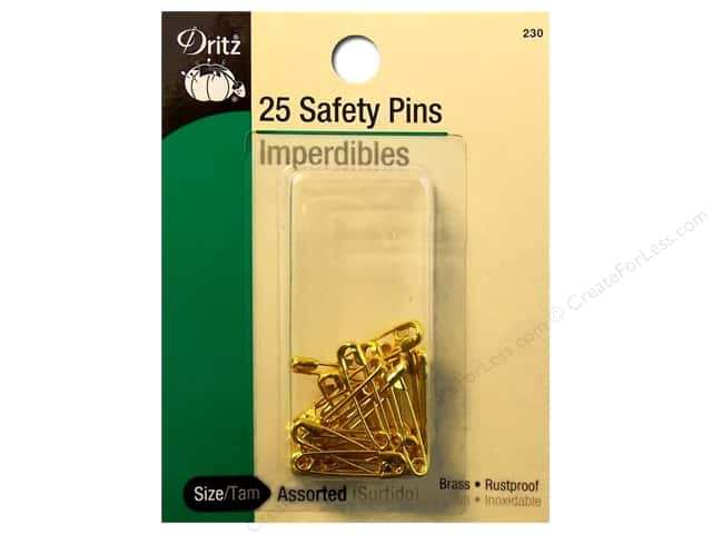 Dritz Safety Pins Assorted Size Brass 25pc