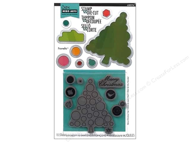Sizzix Dies HeroArts Framelits Set Stamp Merry Christmas Tree