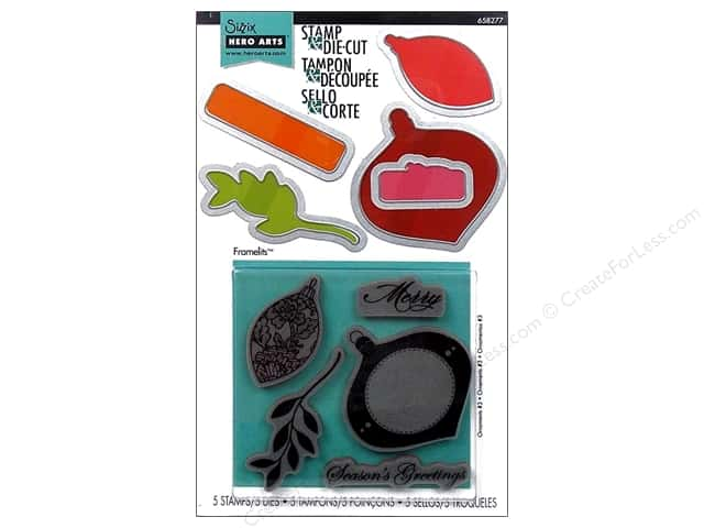 Sizzix Framelits Die Set 5 PK with Stamps Ornaments #3 by Hero Arts