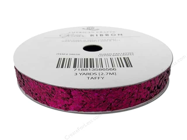 "American Crafts Ribbon Glitter Large 3/8"" Solid Taffy 3yd"