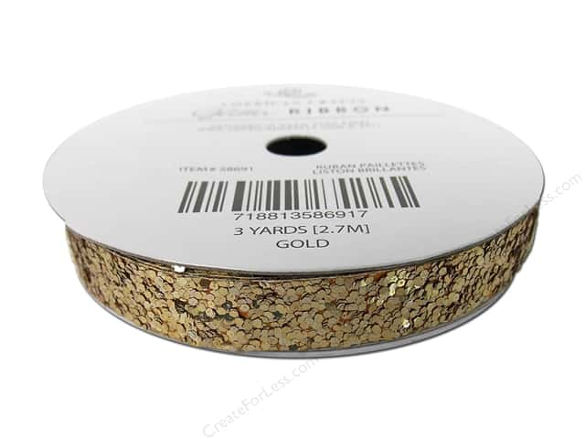 "American Crafts Ribbon Glitter Large 3/8"" Solid Gold 3yd"