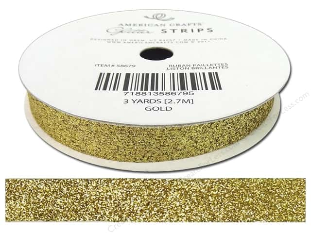 American Crafts Glitter Ribbon 3/8 in. x 3 yd. Solid Gold