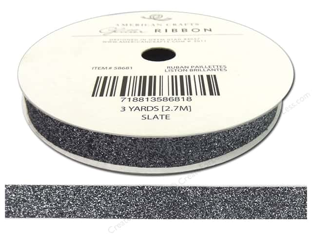 "American Crafts Ribbon Glitter 3/8"" Solid Slate 3yd"