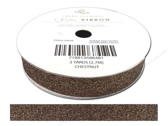 American Crafts Glitter Ribbon 5/8 in. x 3 yd. Solid Chestnut