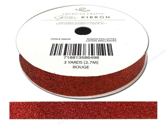 American Crafts Glitter Ribbon 5/8 in. x 3 yd. Solid Rouge