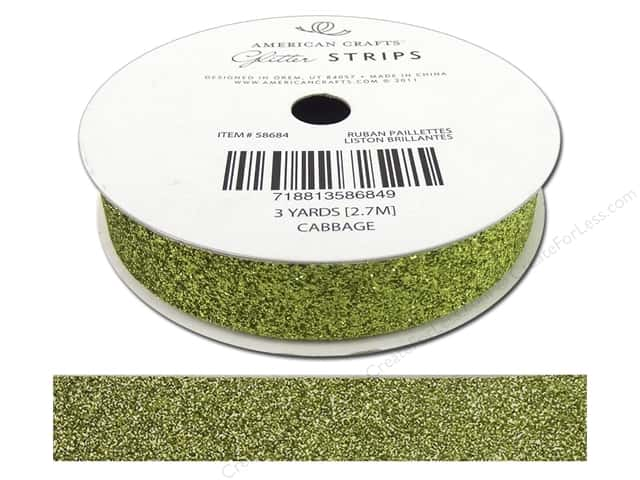 American Crafts Glitter Ribbon 5/8 in. x 3 yd. Solid Cabbage
