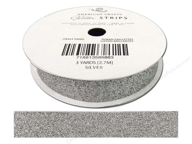"American Crafts Ribbon Glitter 5/8"" Solid Silver 3yd"