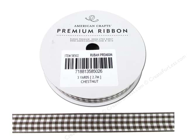 American Crafts Gingham Ribbon 1/2 in. x 3 yd. Chestnut & White
