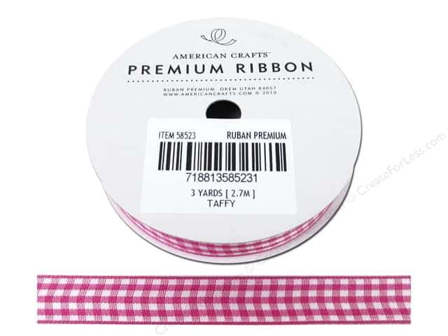 American Crafts Gingham Ribbon 1/2 in. x 3 yd. Taffy & White