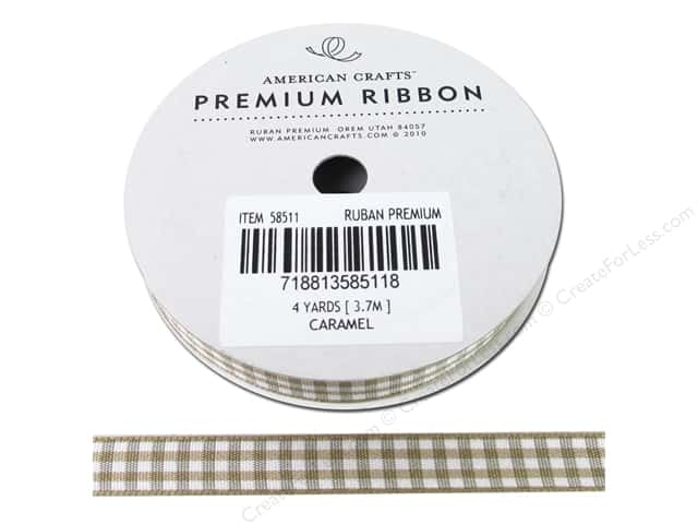 "American Crafts Ribbon Gingham 3/8"" Caramel 4yd"