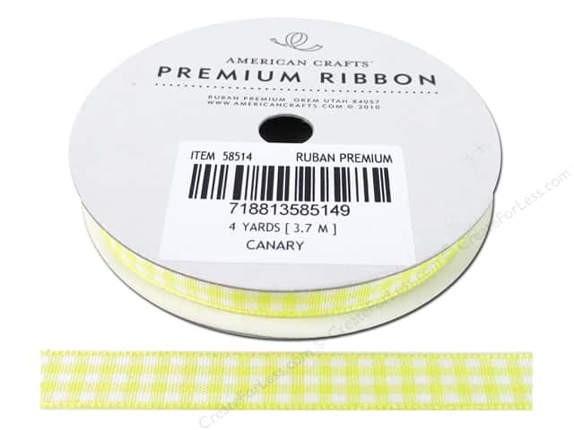 "American Crafts Ribbon Gingham 3/8"" Canary 4yd"