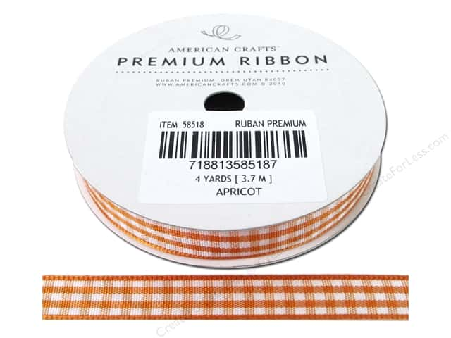 "American Crafts Ribbon Gingham 3/8"" Apricot 4yd"