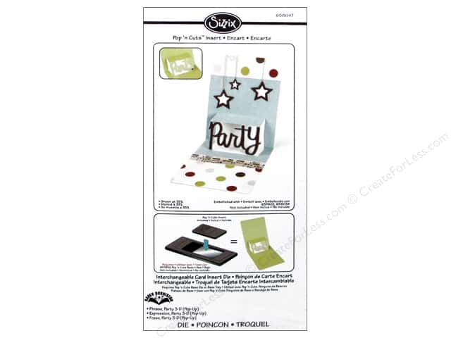 Sizzix Die Pop N Cuts Magnetic Insert Phrase Party 3D by Karen Burniston