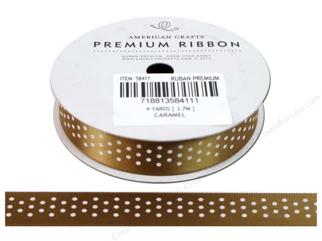"American Crafts Ribbon Satin Dots 5/8"" Caramel 4yd"
