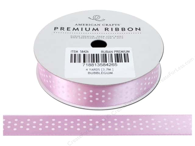 American Crafts Satin Ribbon with Dots 5/8 in. x 4 yd. Bubblegum