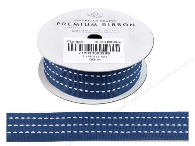 American Crafts Grosgrain Ribbon with Stitch 1 in. x 3 yd. Denim