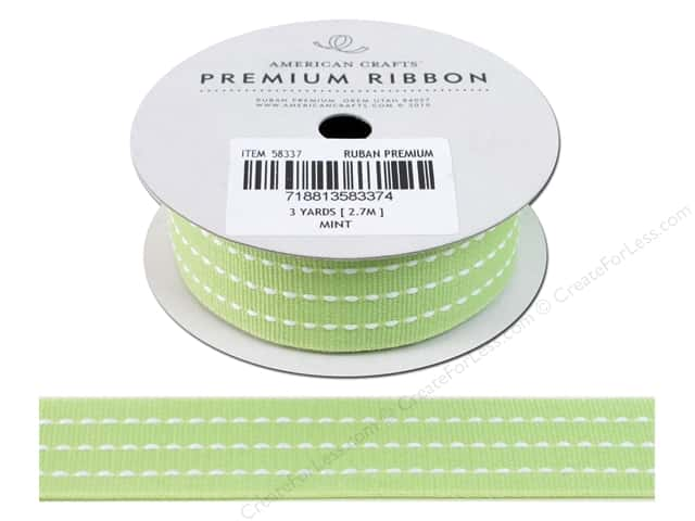 American Crafts Grosgrain Ribbon with Stitch 1 in. x 3 yd. Mint