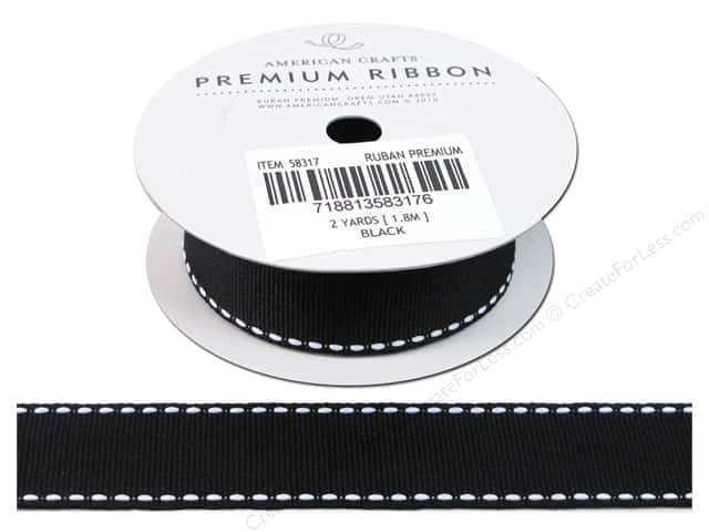 American Crafts Grosgrain Ribbon with Saddle Stitch 1 in. x 2 yd. Black