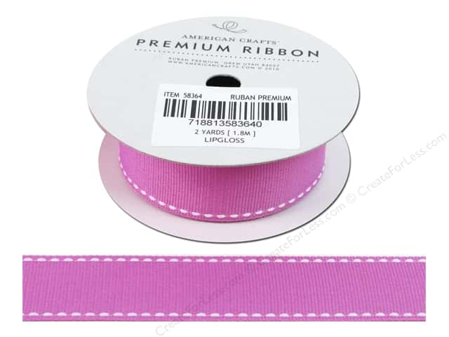 American Crafts Grosgrain Ribbon with Saddle Stitch 1 in. x 2 yd. Lipgloss