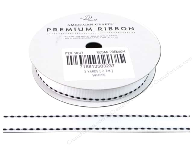 "American Crafts Ribbon Grosgrain Saddle Stitch 1/2"" White 3yd"
