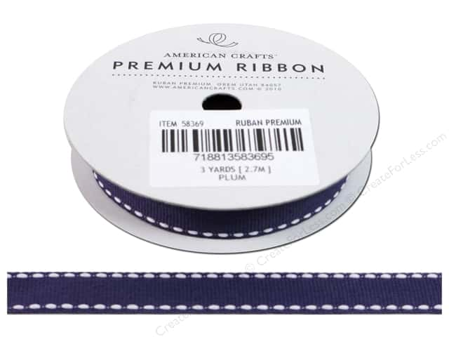 "American Crafts Ribbon Grosgrain Saddle Stitch 1/2"" Plum 3yd"