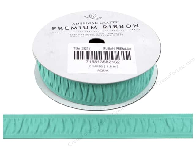 American Crafts Grosgrain Ribbon Gathered 3/4 in. x 2 yd. Aqua