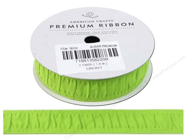 "American Crafts Ribbon Grosgrain Gathered 3/4"" Cricket 2yd"