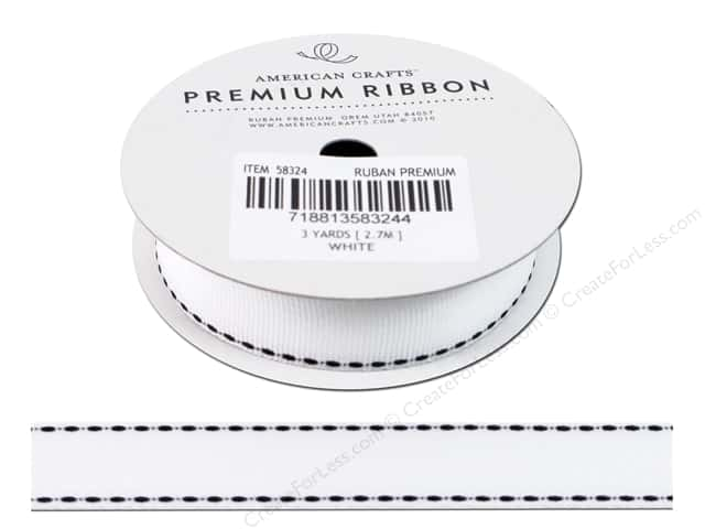American Crafts Grosgrain Ribbon Saddle Stitch 3/4 in. x 3 yd. White