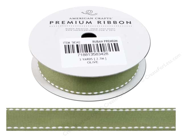 "American Crafts Ribbon Grosgrain Saddle Stitch 3/4"" Olive 3yd"