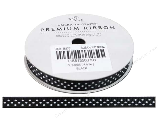 American Crafts Grosgrain Ribbon with Dots 3/8 in. x 5 yd. Black
