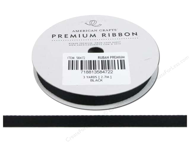"American Crafts Ribbon Twill 3/8"" Black 3yd"