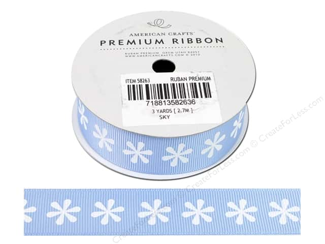 American Crafts Grosgrain Ribbon with Flowers 7/8 in. x 3 yd. Sky