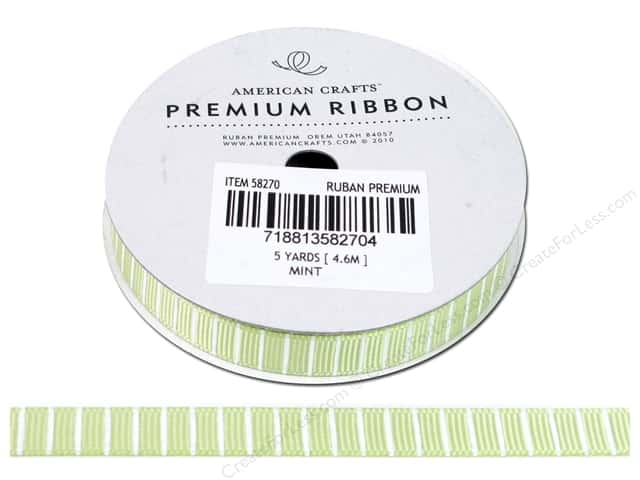 American Crafts Grosgrain Ribbon with Lines 3/8 in. x 5 yd. Mint