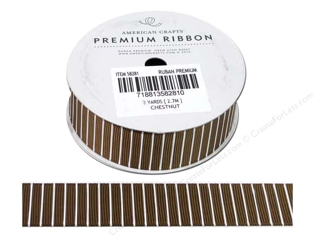 American Crafts Grosgrain Ribbon with Lines 7/8 in. x 3 yd. Chestnut