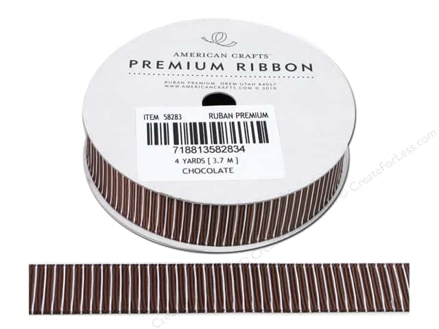 American Crafts Grosgrain Ribbon with Pinstripes 5/8 in. x 4 yd. Chocolate