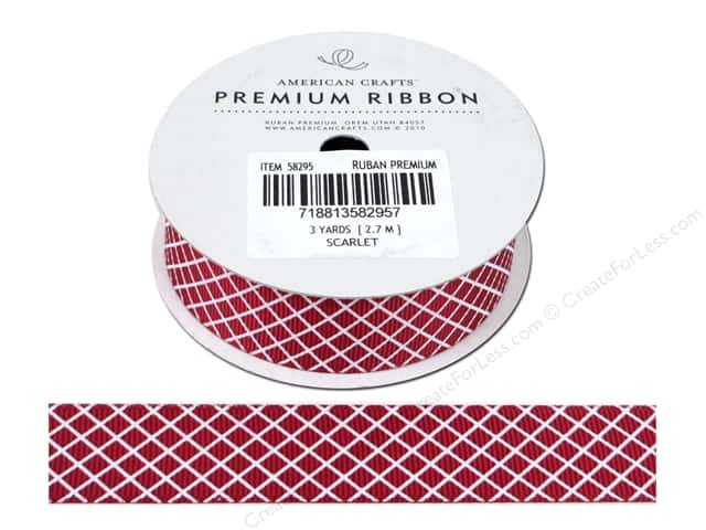 American Crafts Grosgrain Ribbon with Plaid 7/8 in. x 3 yd. Scarlet