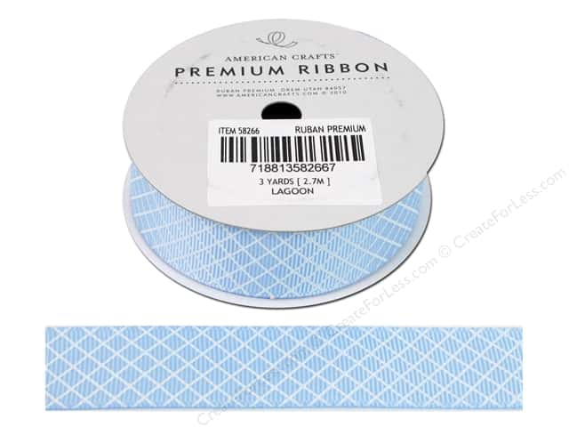 "American Crafts Ribbon Grosgrain Plaid 7/8"" Lagoon 3yd"