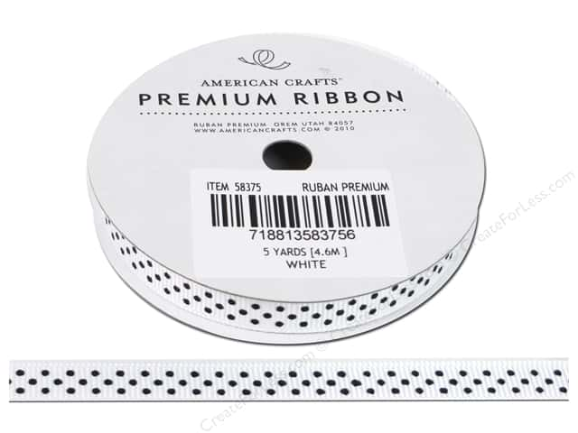 American Crafts Grosgrain Ribbon with Dots 3/8 in. x 5 yd. White