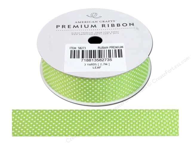 American Crafts Grosgrain Ribbon with Stars 7/8 in. x 3 yd. Leaf
