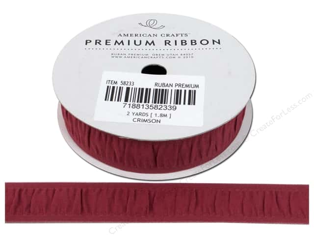 "American Crafts Ribbon Grosgrain Gathered 3/4"" Crimson 2yd"
