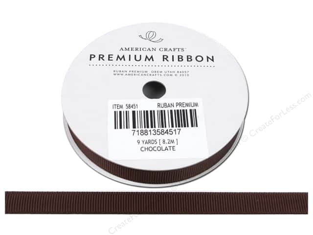"American Crafts Ribbon Grosgrain Solid 3/8"" Chocolate 9yd"