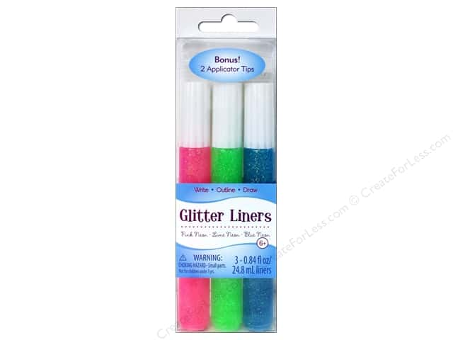 Sulyn Glitter Glue Liners Neon Pink Lime Blue 3pc