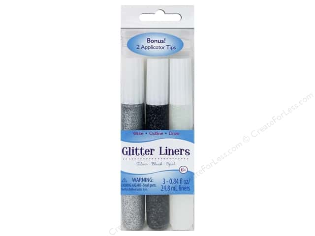 Sulyn Glitter Glue Liners Silver Black Opal 3pc
