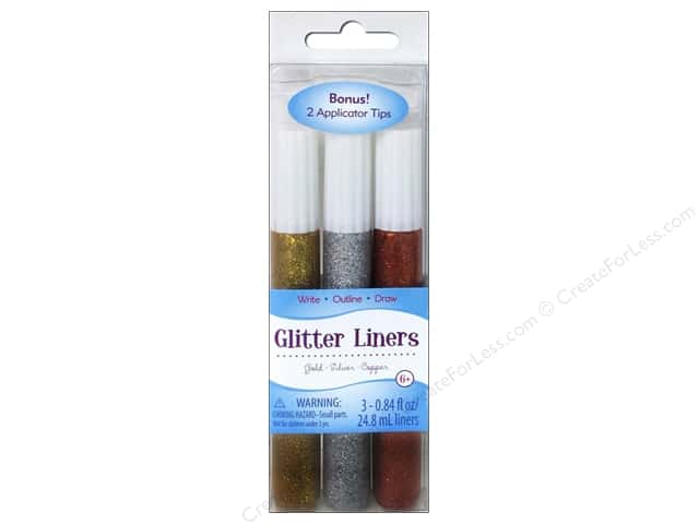 Sulyn Glitter Glue Liners Gold Silver Copper 3pc