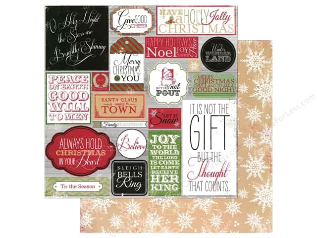 "Making Memories Paper 12""x 12"" Believe Label/Snowflake (25 pieces)"