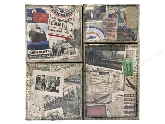 Tim Holtz District Market Burlap Panel Destinations 2pc