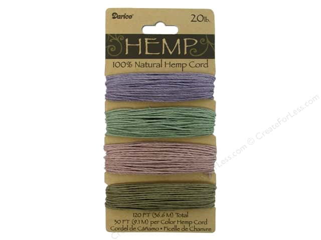 Darice Cord Hemp Set 20lb Vintage Green/Purple 4x30'