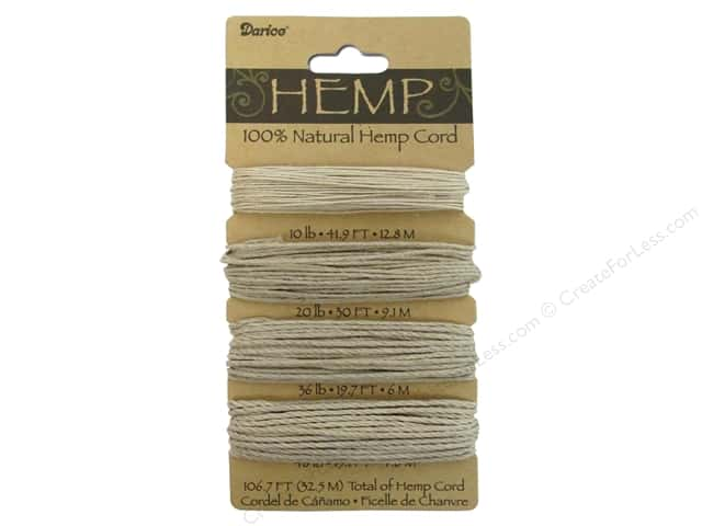 Darice Cord Hemp Set 4 Assorted Natural