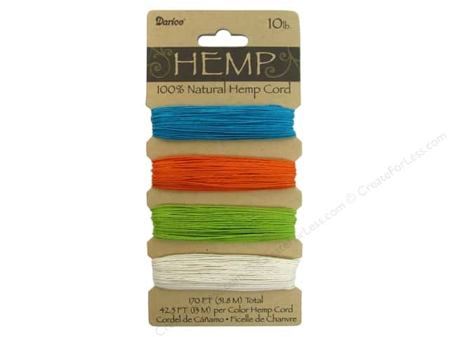 Darice Cord Hemp Set 10lb Bright Colors 4x42'