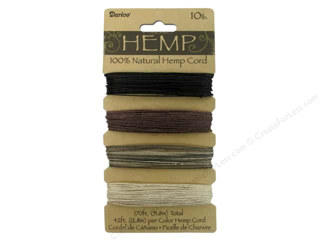 Darice Cord Hemp Set 10lb Earthy Colors 4x42'